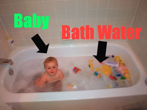 Don't throw the baby out with the bathwater! Image taken from google advanced image search licensed for commercial reuse with modification (source: www.wikipedia.org)