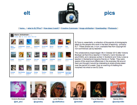 Screenshot of ELTpics home page