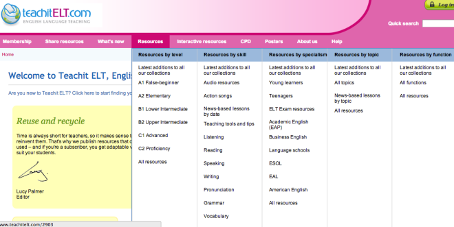 Screenshot of Teachit ELT