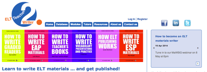 Screenshot: ELT Teacher2Writer website
