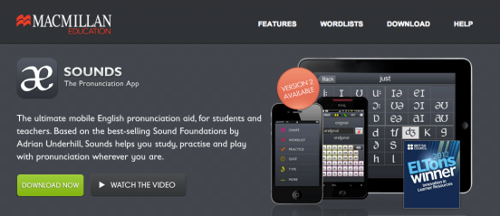 Screenshot from the Macmillan Sounds app website