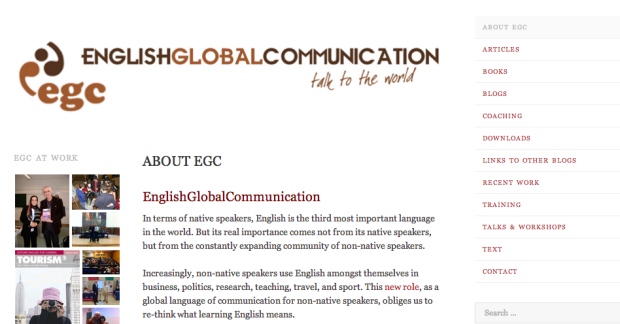 Screenshot: English Communication Global blog site