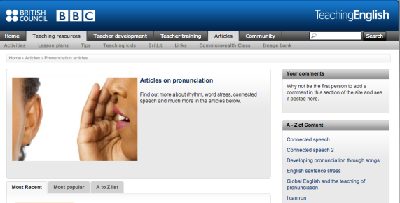 Screenshot of TEBC Pronunciation Articles page