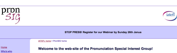 Screenshot of IATEFL Pron SIG's website