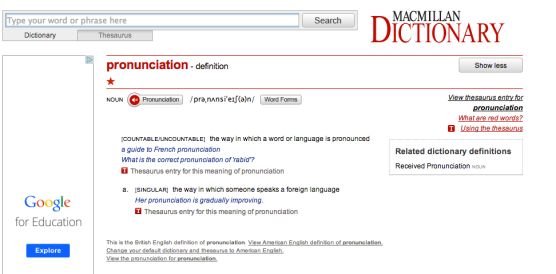 Screenshot of Macmillan Online Dictionary