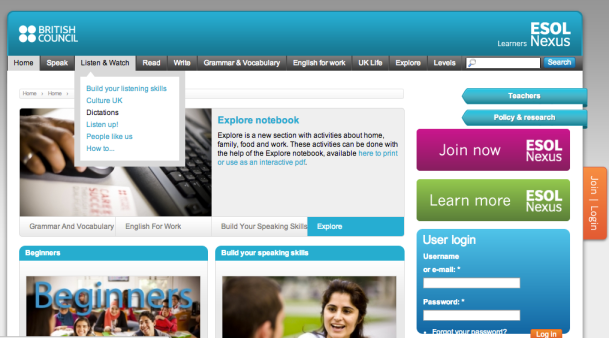 Screenshot 1 from ESOL Nexus website