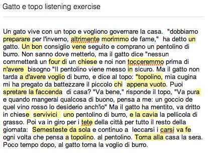 My first Italian dictation with errors highlighted.