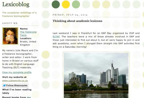 Lexicoblog - a screenshot of the homepage