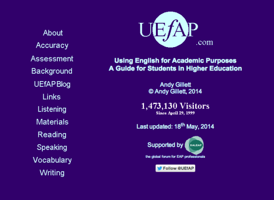 Screenshot of Using English for Academic Purposes: a guide for students in higher education
