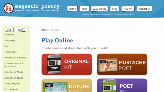 Screenshot from Magnetic Poetry Online (http://magneticpoetry.com/pages/play-online)