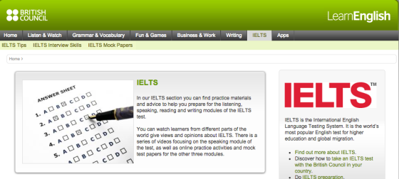 Screenshot of the British Council Learn IELTS page