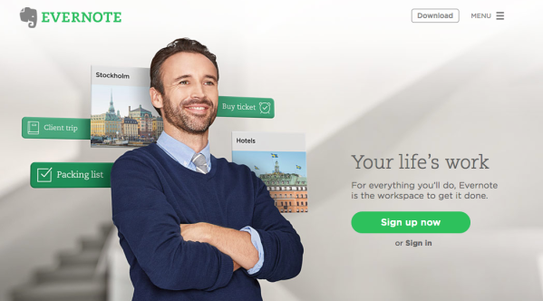 Screenshot of Evernote-s homepage: They clearly got this dude off Shutterstock or similar! ;-)